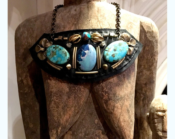 Featured listing image: GILDED-MANE JEWELRY Turquoise, Jasper & Leather Necklace