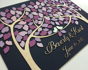 Wedding Guest Book Alternative 3D Guestbook Wood Tree of Hearts Two Families Become One Purple Violet Lavender Wedding Custom Made Gift