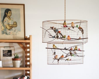 Copper Double Birdcage Pendant Light Chandelier
