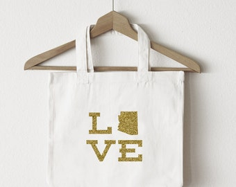 Love Arizona tote bag/custom tote/market bag/canvas shopping bag/state tote/market tote/ reuseable bag/ AK state bag/ gold glitter