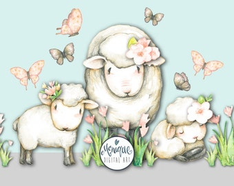 Sheep clipart, sheep watercolor, farm animals, painted, floral, planner stickers, etsy shop resources, planner pages, cute sheep, invitation