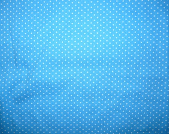 CLEARANCE - Blue and white polka dot print cotton 0.80CM