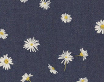 Fabric - Art Gallery -Ragged Daisies Denim Print 4.5oz Denim