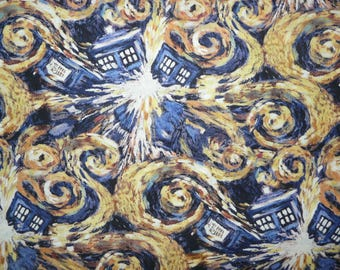 Fabric - Dr Who gold swirl tardis cotton print - woven cotton