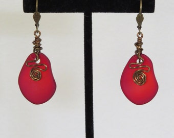 Red Sea Glass and Antique Brass Earrings