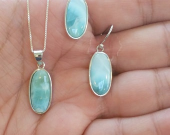 Elongated Oval Larimar Set, Pendant w. Chain & earrings with  925 Sterling Silver  - Dominican Larimar - Calming Stone