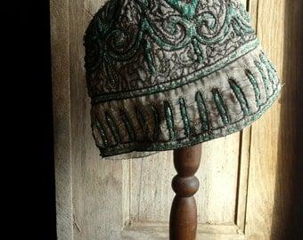 antique French vintage flapper hat  cap cloche art deco  glass beads