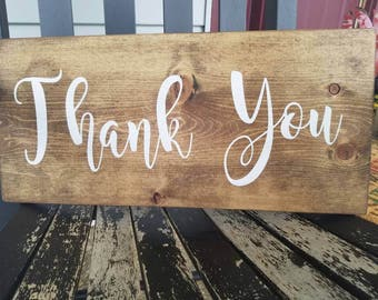 10x20in wooden thank you sign. Wedding sign