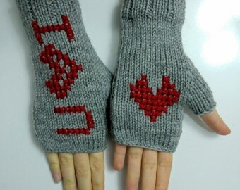 Grey Hand Knitted Fingerless, Wool Mittens, Woman Gloves, For Her,Fingerless gloves, love you gloves,valentines day