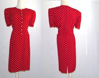 ReD BeCoMeS YoU 1983 MaggY LoNDoN Red Rayon polka dot dress / 10 12 NoT PeTite! / 80s red knee-length midi dress