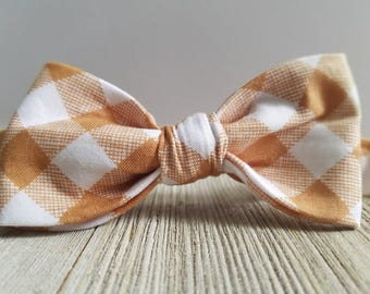 Adjustable Bowtie;Tan Gingham;Wedding Accessories;Tie;Menswear;Boy's Neckties;Ring bearer;Groomsmen; Easter;Baby;Spring; Accessories; Bow
