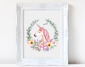 Unicorn, nursery print, wall art, watercolor unicorn, new baby gift, illustration, cute unicorn, prints, nursery, girls bedroom, flowers