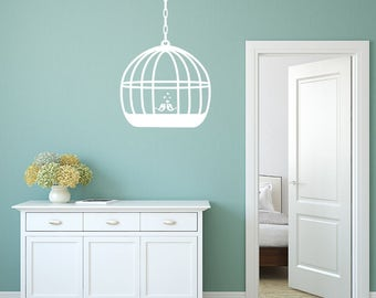 Wall Decal, Two little birds, Birdcage Wall Sticker, Bedroom Wall Sticker, Living Room Decal, Birdcage Decal, Birdcage Stickers, Birdcage