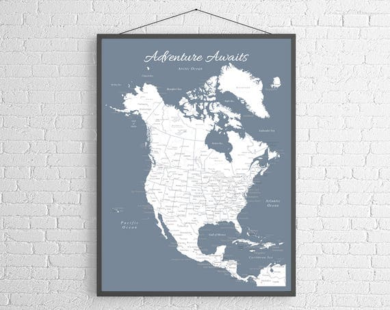 North america push pin map print only canada map mexico like this item gumiabroncs Image collections