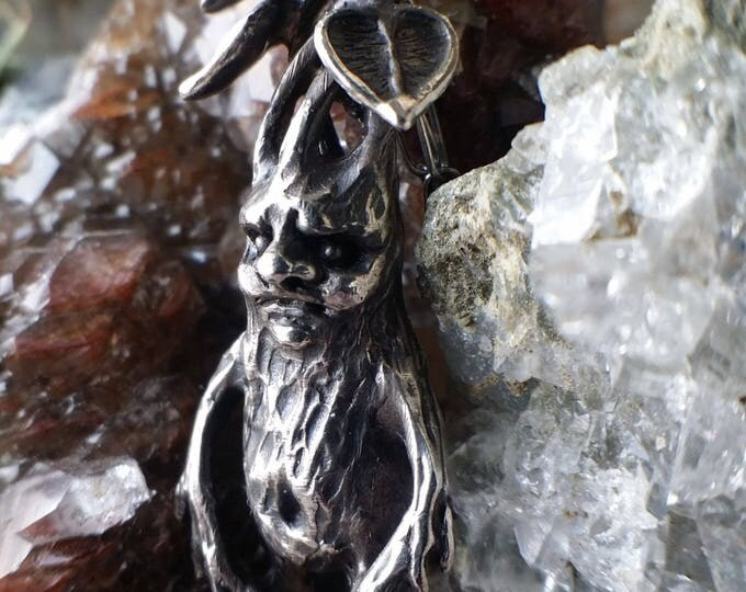 Featured listing image: Mandrake Root Sterling Silver, hand sculpted and lost wax cast miniature, Harry Potter Inspired, handmade jewelry, made to order