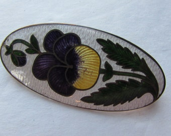SALE! Enamel Brooch Purple Pansy Pin Yellow Pansy Brooch Vintage Jewelry Oval Shape Pin Early 20th Century Ladies Jewelry
