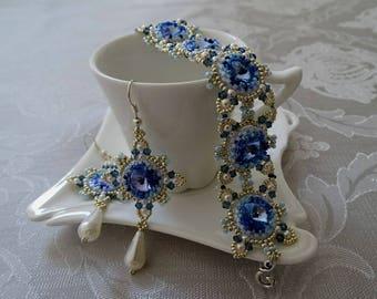 Jewelry Set//Bracelet//Earrings//Blue//Silver//Pearl//Byzantium//Free Shipping