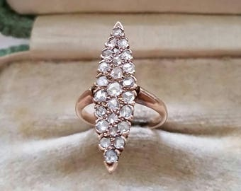 14k rose cut diamond navette ring
