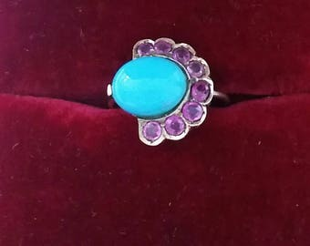 Turquoise and ruby conversion ring