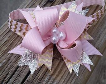 Medium Pink and Gold Hair bow