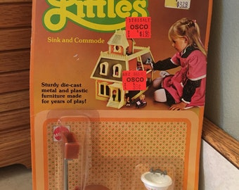 NIP Die-Cast Metal, The Littles SINK and COMMODE Dollhouse Furniture, 1980s Mini Collectible Doll Bathroom Toliet Furniture by Mattel