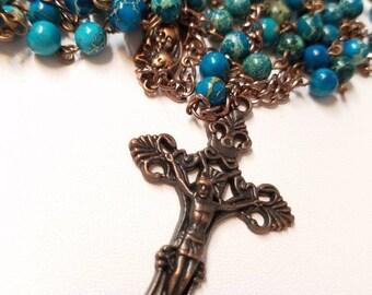 Earthy Semi-Precious Gemstone Rosary With Antique Copper Cross