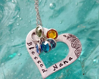 Grandma Blessed Nana Bling Chicks Grand-kids Birthstone Necklace - Mothers Day Gift