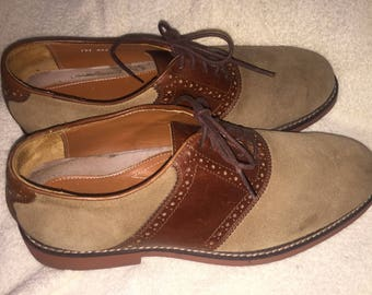 REDUCED! David Spencer men's brown leather and tan suede golf oxford saddle shoes 9 m