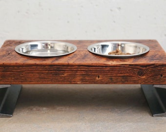 Dog Bowl Stand - Elevated Dog Bowl - Raised Pet Feeder - Rustic Dog Bowl - Industrial Dog Bowl - Raised Dog feeder Stand -  Medium Dog Bowl