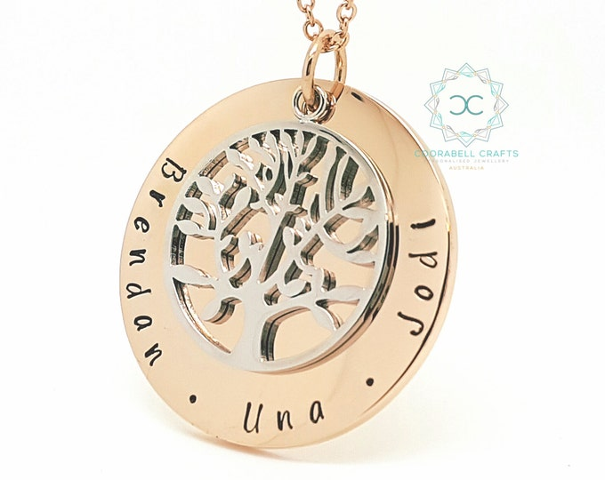 Family Names Tree of Life Pendant Personalised Jewellery Hand Stamped Name Necklaces Rose Gold Family Name Pendants Tree of Life Australia