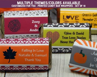 Fall Wedding Ideas - Fall Wedding - Fall Wedding Favors - Autumn Wedding - Autumn Wedding Favors - Candy Bar Wrappers - 18 PRINTED Labels
