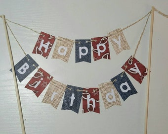 "Cake Bunting, ""Rodeo"", Happy Birthday, Cake Topper, Paper banner"
