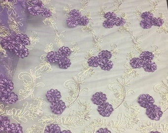 Lilac enchanted 3D flowers embroider on a mesh lace -yard