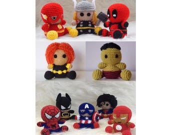 Amigurumi - Batman Spiderman Captain America, Superman, Iroman, Hulk, Deadpool, Black Widow, Thor SuperHero teddy crochet Marvel Avengers