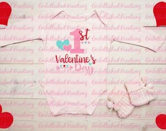 Valentine's Day/'1st Valentine's Day' with Hearts/Dots Heat Transfer Vinyl Decal/Baby's 1st Valentine's Day/Baby Onesie/Bodysuit/Shirt/HTV