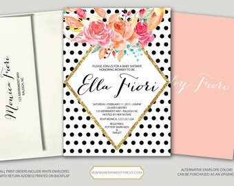 Black Polka Dot Baby Shower Invitation // Baby Shower Invitation // black and white // blush pink // gold glitter // RALEIGH COLLECTION