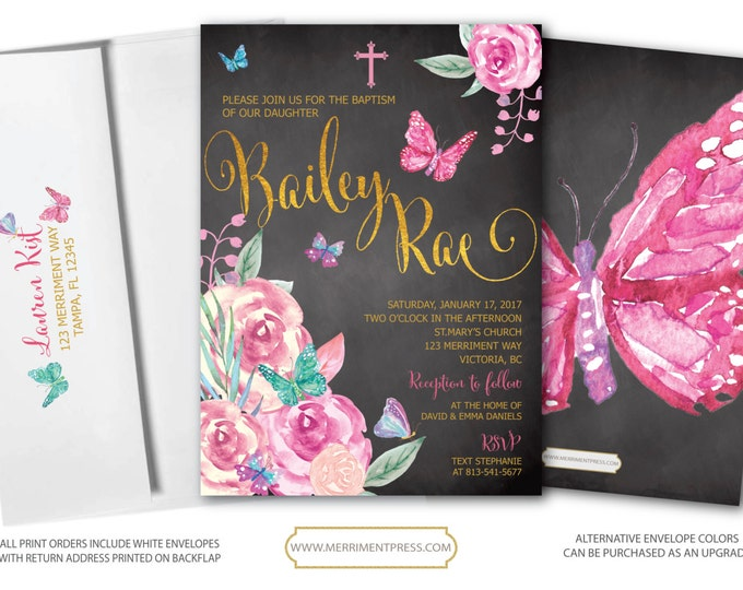 Butterfly Baptism Invitation, Butterflies ,Holy Communion, Chalkboard, Pink, Religious, Butterfly, Floral, Watercolor - VICTORIA COLLECTION