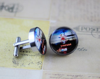 Resin cufflink, Little Audrey, Skipping Vinegar Girl, Melbourne, colourful, round or square