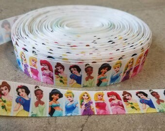 Disney Princess Grosgrain Ribbon. Disney Princess 7/8 inch ribbon. Disney Princess ribbon.