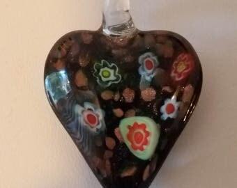 Black heart, glass pendant, glass heart pendant, heart pendant, murano pendant, flowers
