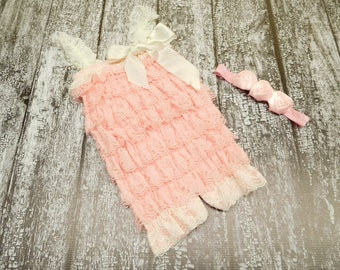 cream blush pink lace romper with headband, petti romper headband set, baby girl photo outfit, ruffled pink lace romper, pink lace ruffles