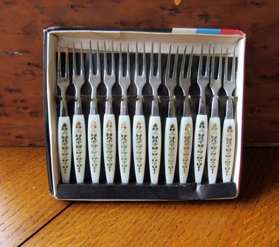 Set of 12 Cocktail Forks In Original Box Stainless Steel Tines