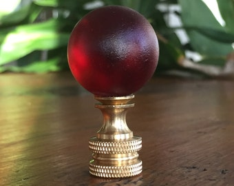 Lamp Finial Ruby Red Glass Globe Finial