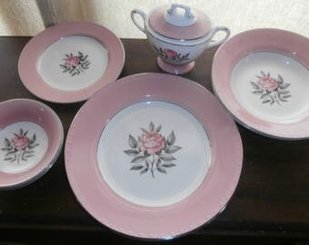 Vintage kitchen dishes Cunningham and Pickett Norway Rose pink rose plates bowls sugar berry bowls set of 8