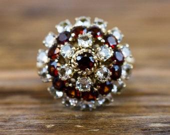Vintage 14k Gold Garnet and Spinel Princess Ring / Thai Princess Ring