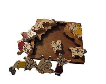 Wooden Pig Puzzle Vintage puzzle Vintage Wood Puzzle Complete Wood Puzzle Preschool Puzzle Homeschool Supply Preschool Supply