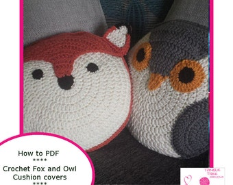 Woodland Fox and Owl Cushion Crochet PDF Pattern