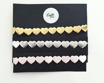 Hearts Trim Halo - Hearts Hippy Headband - Pink Hearts Halo Headband - Gold Hearts Hippy Headband - Silver Hearts Hairpiece - Heart Headband