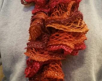 Red Heart Sashay Handmade Ruffled Scarf ( Salsa)