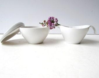 Vintage Mid Century White Melmac Set - Creamer and Sugar Bowl - White Melmac - Prolon Melmac - White Cream and Sugar -